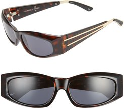 The Edge 55mm Wrap Sport Sunglasses - Leopard/ Gold/ Smoke