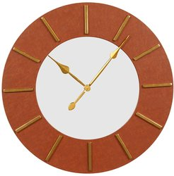 """Willow Row Large Round Wood Wall Clock With Brown Faux Leather Border And Gold Detail - 30"""" X 30"""" at Nordstrom Rack"""