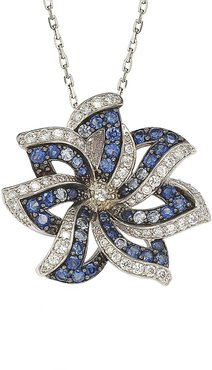 Suzy Levian Two-Tone Blue Sapphire, Created White Sapphire & Brown Diamond Pendant Necklace at Nordstrom Rack