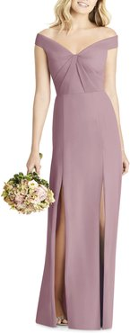 Off The Shoulder Chiffon A-Line Gown