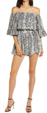Off The Shoulder Ruffle Sleeve Romper