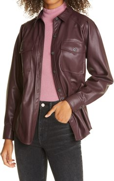 Faux Leather Belted Jacket