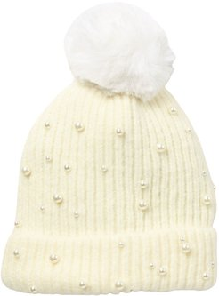 Natasha Accessories Faux Fur Pom Beanie With Pearls at Nordstrom Rack