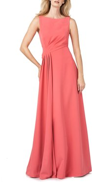 Pleated Waist Crepe A-Line Gown