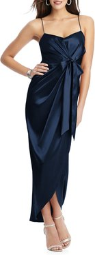 Bow Front Stretch Satin Gown