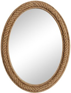 """Willow Row Oval Natural Rope Trimmed Wood Wall Mirror - 30"""" x 40"""" at Nordstrom Rack"""