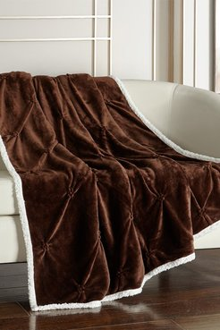 """Chic Home Bedding Caracas Pinch Pleated Faux Shearling Lined Throw Blanket - 50"""" x 60"""" - Brown at Nordstrom Rack"""