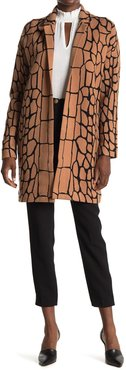 T Tahari Notch Collar Snake Printed Coat at Nordstrom Rack
