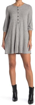MELLODAY Knit Rib 3/4 Sleeve Button Front Dress at Nordstrom Rack