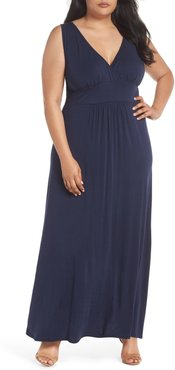 Plus Size Women's Loveappella Surplice Maxi Dress