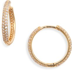 Thin Pave Hoop Earrings