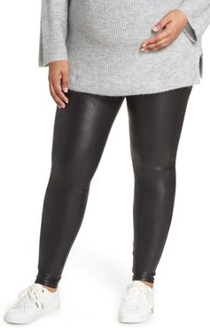Plus Size Women's Spanx Mama High Rise Faux Leather Maternity Leggings
