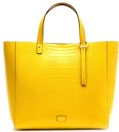 Margaret Embossed Leather Tote - Yellow