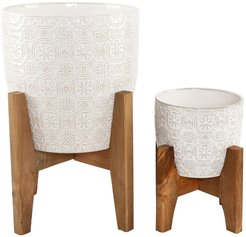 "FLORA BUNDA 10"" & 6.6"" Cathedral Ceramic Planter on Stand - Set of 2 at Nordstrom Rack"