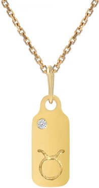Diamond Accented Zodiac Sign Dog Tag Pendant Necklace