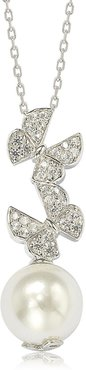 Suzy Levian Sterling Silver CZ Pave 10mm Cultured Freshwater Pearl Butterfly Shape Pendant Necklace at Nordstrom Rack