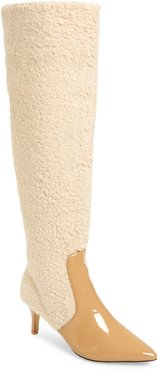 Piped Faux Shearling Over The Knee Boot