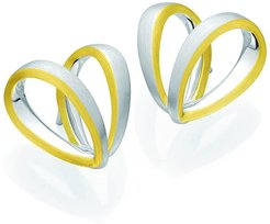 BREUNING Two-Tone 18K Gold Plated Sterling Silver Heart Ribbon Stud Earrings at Nordstrom Rack