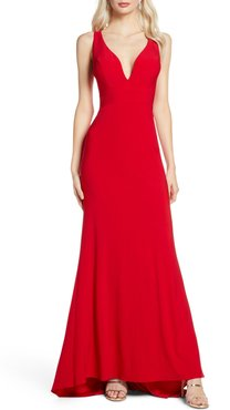 V-Neck Jersey Gown With Train