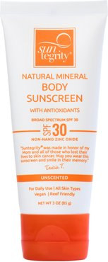 Unscented Natural Mineral Sunscreen For Body Broad Spectrum Spf 30