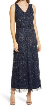 Beaded Double V-Neck Gown