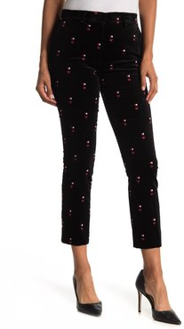 FRAME The Perfect Heart Embroidered Velvet Cropped Trousers at Nordstrom Rack