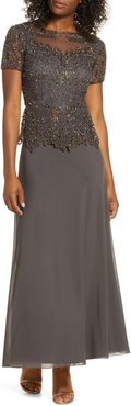 Embellished Mesh Bodice Evening Gown