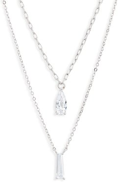 Delicate Tiered Cubic Zirconia Pendant Necklace