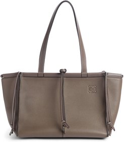 Cushion Leather Convertible Gusset Tote - Brown