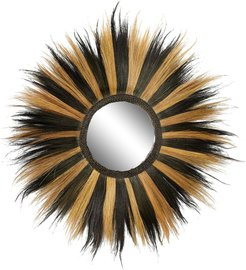 """Willow Row Large Round Striped Black & Gold Grass Wall Mirror - 54"""" x 54 at Nordstrom Rack"""