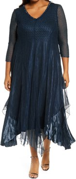 Plus Size Women's Komarov Embellished Neckline Satin Chiffon & Charmeuse Dress