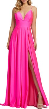 Plunge Neck Pleated Gown