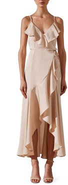 Luxe Ruffle Trim Wrap Gown