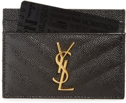 Monogram Quilted Leather Credit Card Case - Black