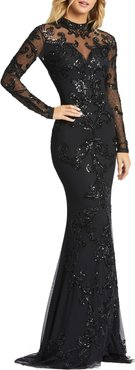 Sequin Illusion Long Sleeve Open Back Trumpet Gown