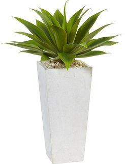 NEARLY NATURAL Agave Artificial Plant in White Planter at Nordstrom Rack