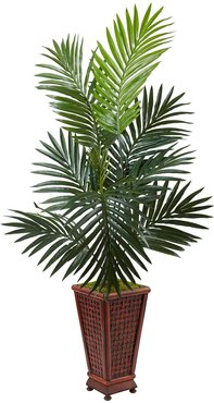 NEARLY NATURAL Green 4.5ft. Kentia Palm Artificial Tree in Decorative Wood Planter at Nordstrom Rack