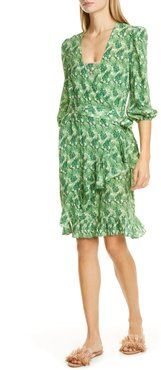 ADRIANA DEGREAS Ruffled Leaf Print Silk Cover-Up Wrap Dress at Nordstrom Rack