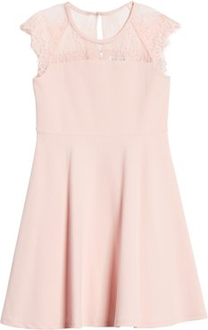 Girl's Blush By Us Angels Lace Cap Sleeve Skater Dress