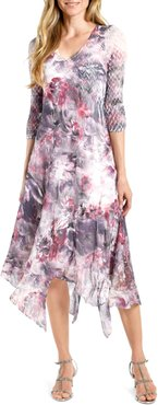 Handkerchief Hem Chiffon Midi Dress