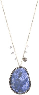 Meira T 14K Yellow Gold Halo Sodalite & Diamond Doublet Pendant Necklace at Nordstrom Rack