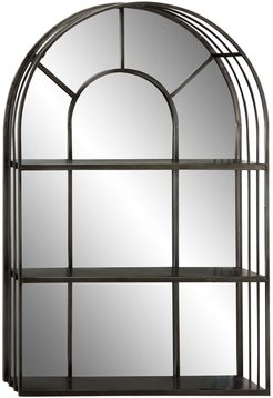 """Willow Row Large Industrial Dark Silver Iron Cathedral Window Pane Wall Mirror with Shelves - 23.5""""x 36 at Nordstrom Rack"""