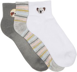 Abound Embroidered Ankle Socks - Pack of 3 at Nordstrom Rack