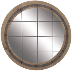 Willow Row Rustic Round Wood And Iron Grid-Patterned Wall Mirror at Nordstrom Rack