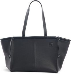 Cushion Leather Convertible Gusset Tote - Black
