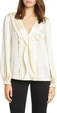 FRAME Ruffle Front Silk Top at Nordstrom Rack