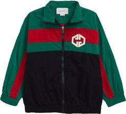 Boy's Gucci Web Stripe Embroidered Logo Windbreaker