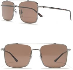 GUCCI 56mm Brow Bar Square Sunglasses at Nordstrom Rack