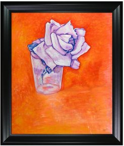 Overstock Art White Rose in a Glass - Framed Oil Reproduction of an Original Painting by Piet Mondrian at Nordstrom Rack