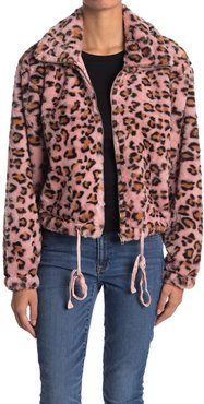 Know One Cares Leopard Faux Fur Cropped Jacket at Nordstrom Rack